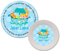 Noah's Ark Blue Personalized Mealtime Set | 2-Piece