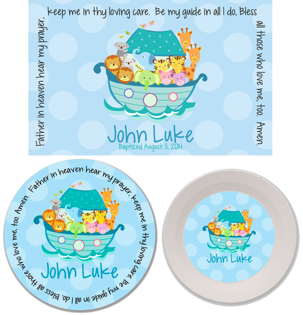 Noah's Ark Blue Personalized Mealtime Set | 3-Piece
