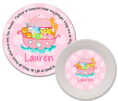 Noah's Ark Pink Personalized Mealtime Set | 2-Piece