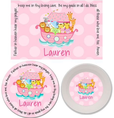 Noah's Ark Pink Personalized Mealtime Set | 3-Piece