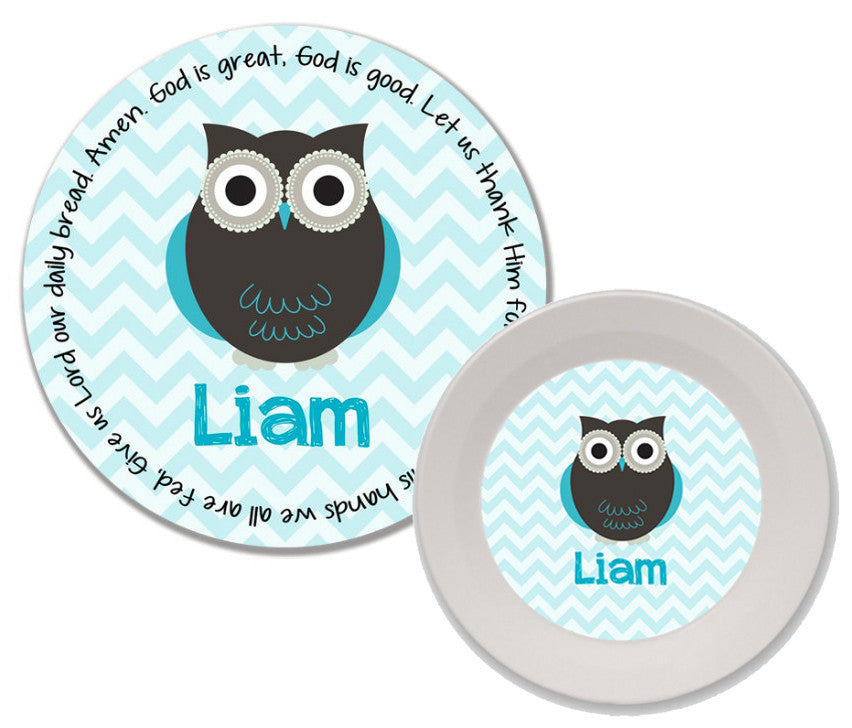 Owl Boy Personalized Mealtime Set | 2-Piece
