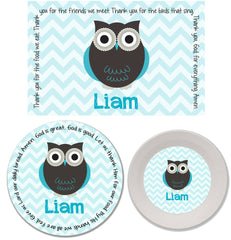 Owl Boy Personalized Mealtime Set | 3-Piece