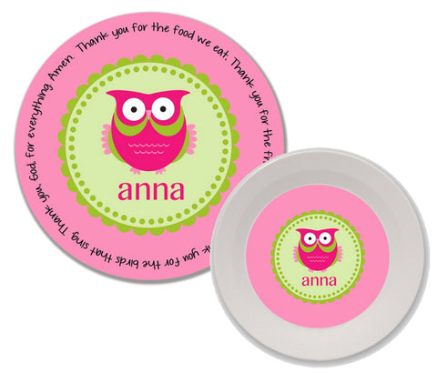 Owl Girl Personalized Mealtime Set | 2-Piece