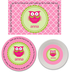 Owl Girl Personalized Mealtime Set | 3-Piece