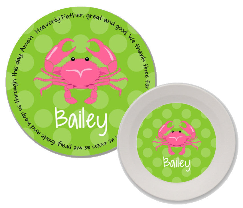Crab Girl Personalized Mealtime Set | 2-Piece