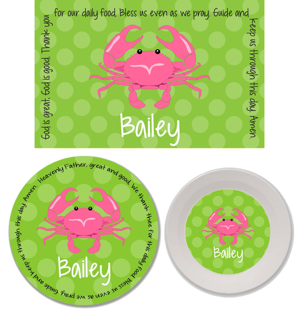 Crab Girl Personalized Mealtime Set | 3-Piece