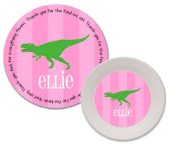 T-Rex Dinosaur Girl Personalized Mealtime Set | 2-Piece