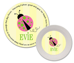 Ladybug Pink Personalized Mealtime Set | 2-Piece