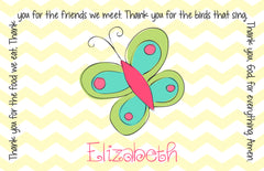 Butterfly Personalized Kids Placemat