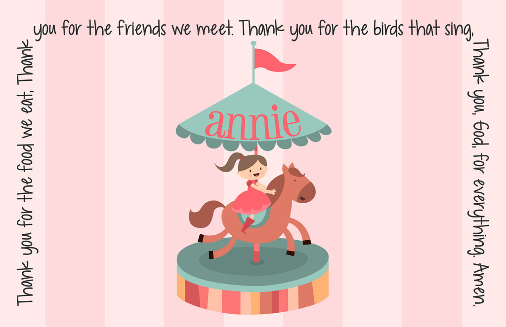 Carousel Personalized Kids Placemat