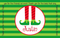 Christmas Elf Feet Personalized Kids Placemat