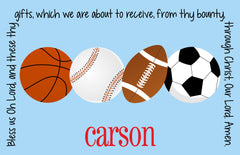 Sports Team Colors Personalized Kids Placemat