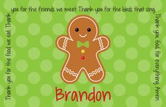 Christmas Gingerbread Personalized Kids Placemat