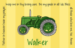 Tractor Green Personalized Kids Placemat