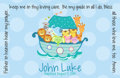 Noah's Ark Blue Personalized Kids Placemat