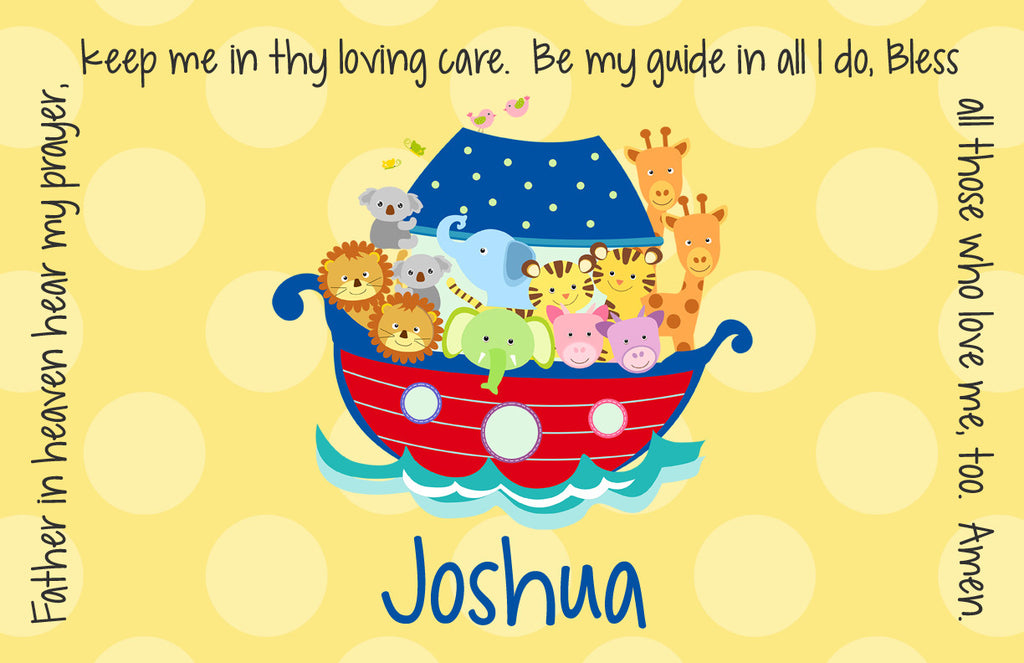 Noah's Ark Primary Personalized Kids Placemat – Grace Settings