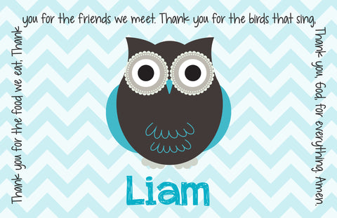 Owl Boy Personalized Kids Placemat
