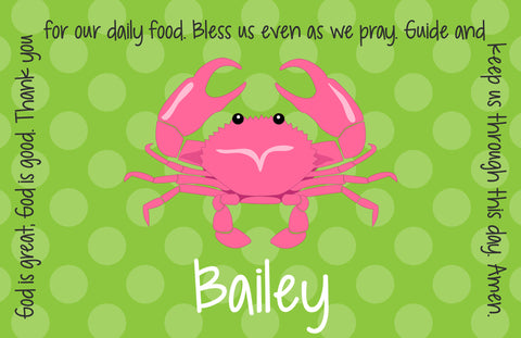 Crab Girl Personalized Kids Placemat