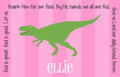 T-Rex Dinosaur Girl Personalized Kids Placemat