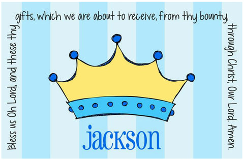 Prince Crown Personalized Kids Placemat