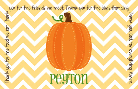 Thanksgiving Fall Harvest Pumpkin Personalized Kids Placemat