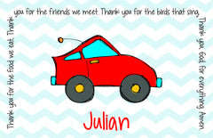 Racecar Personalized Kids Placemat