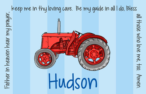 Tractor Red Personalized Kids Placemat