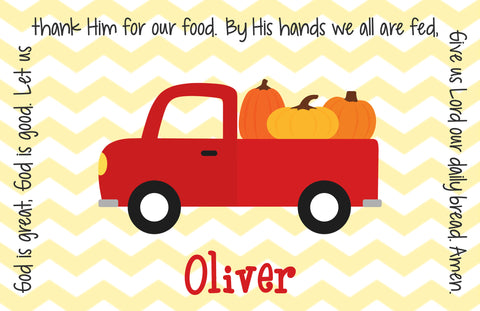 Thanksgiving Pumpkin Truck Personalized Kids Placemat