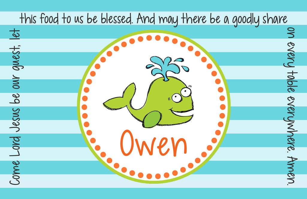 Whale Boy Personalized Kids Placemat