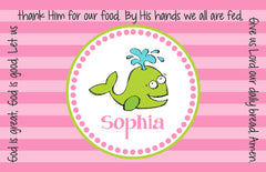 Whale Girl Personalized Kids Placemat