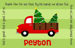 Christmas Red Truck Personalized Kids Placemat