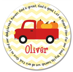 Thanksgiving Pumpkin Truck Personalized Kids Melamine Plate