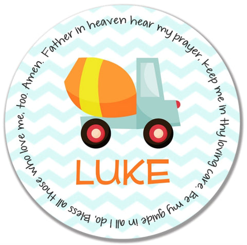 Construction Personalized Kids Melamine Plate