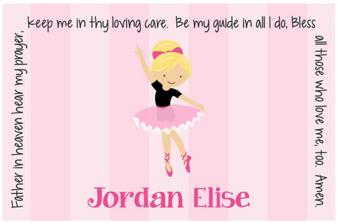 Ballerina Personalized Kids Placemat