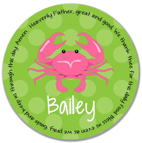 Crab Pink Personalized Kids Melamine Plate