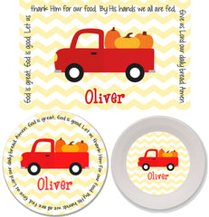Thanksgiving Pumpkin Truck Personalized Mealtime Set | 3-Piece