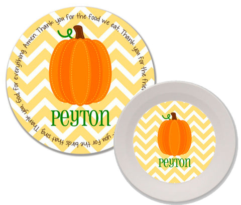 Thanksgiving Fall Harvest Pumpkin Personalized Mealtime Set | 2-Piece