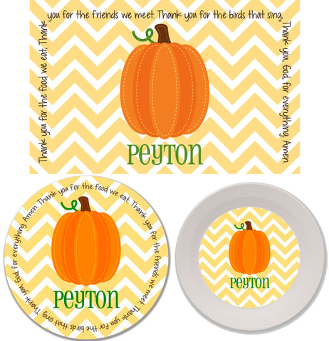 Thanksgiving Fall Harvest Pumpkin Personalized Mealtime Set | 3-Piece