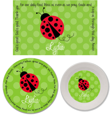 Ladybug Red Personalized Mealtime Set | 3-Piece