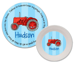 Tractor Red Personalized Mealtime Set | 2-Piece