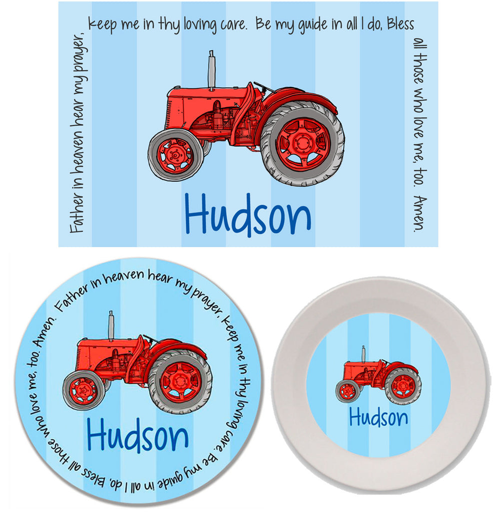 Tractor Red Personalized Mealtime Set | 3-Piece