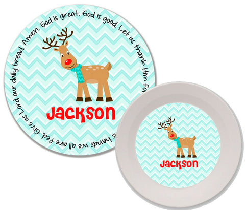 Christmas Reindeer Boy Personalized Mealtime Set | 2-Piece