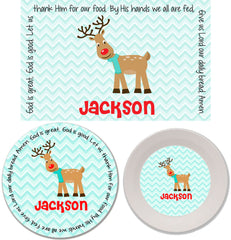 Christmas Reindeer Boy Personalized Mealtime Set | 3-Piece