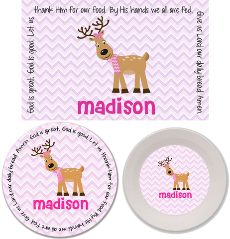 Christmas Reindeer Girl Personalized Mealtime Set | 3-Piece