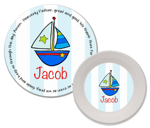 Sailboat Personalized Mealtime Set | 2-Piece
