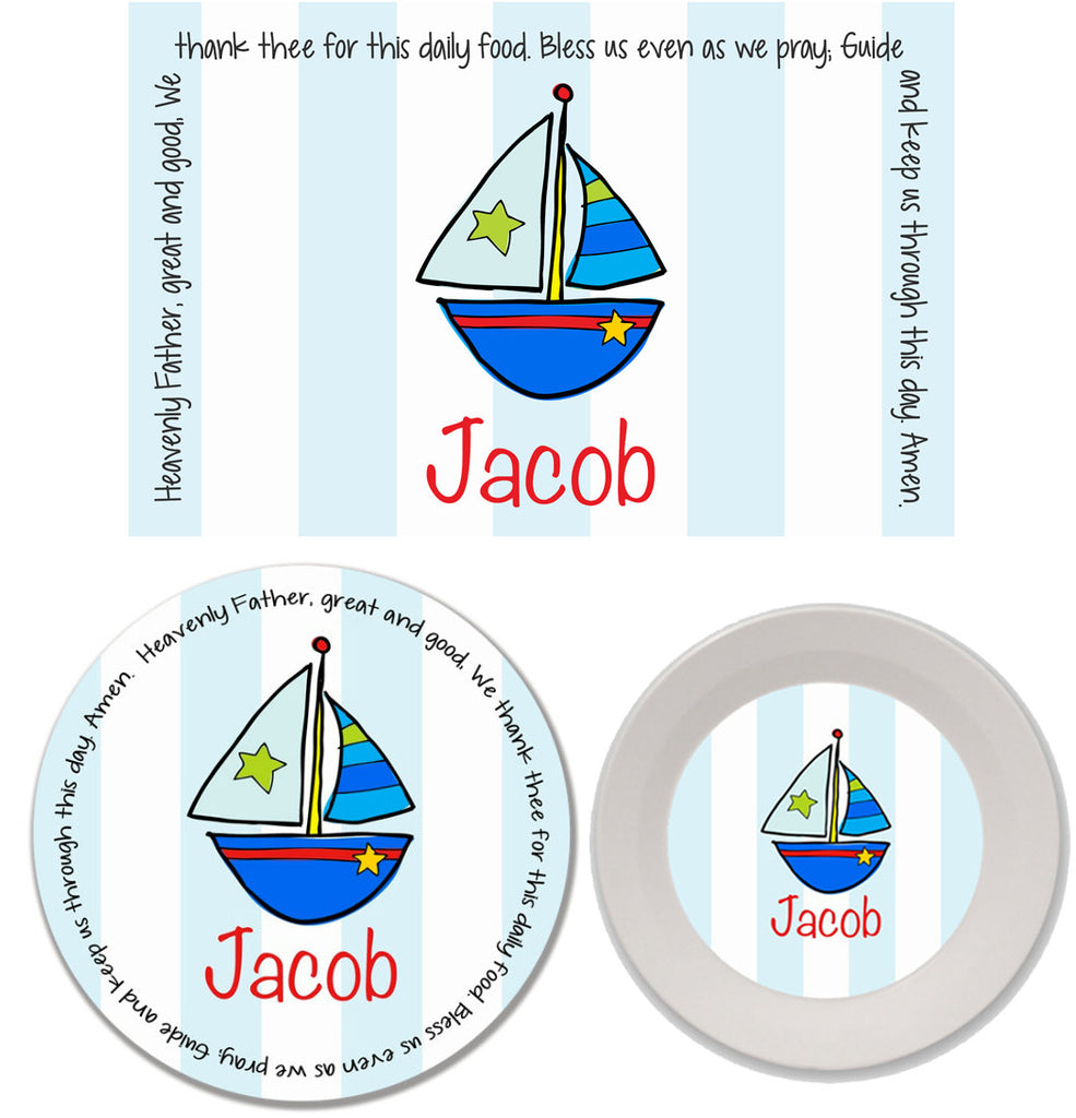Sailboat Personalized Mealtime Set | 3-Piece