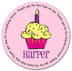 Cupcake Girl Personalized Melamine Plate