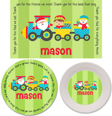Christmas Santa Train Personalized Mealtime Set | 3-Piece