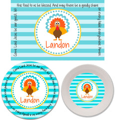 Thanksgiving Turkey Boy Personalized Mealtime Set | 3-Piece