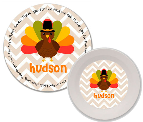 Thanksgiving Chevron Turkey Personalized Mealtime Set | 2-Piece